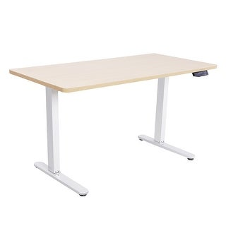 "55"" Wide, Electric, Height Adjustable Sit and Stand Solid Steel Desk with 7 Button Control Pad (Option: Tan)"