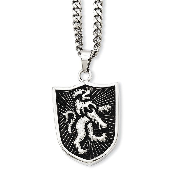 Stainless Steel Antiqued Coat of Arms Shield Pendant 24in Necklace (4 mm) - 24 in