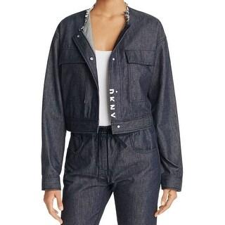 DKNY NEW Indigo Blue Women's Size Large L Crop Denim 2-Pocket Jacket