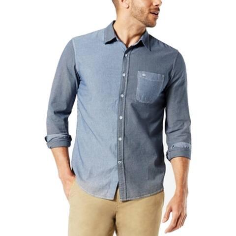 Dockers Mens Shirt Blue Size Large L Patched Stripe Plaid Button Up