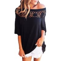 Women's Off Shoulder Casual Half Sleeve Loose Crochet Blouse T Shirt Tops