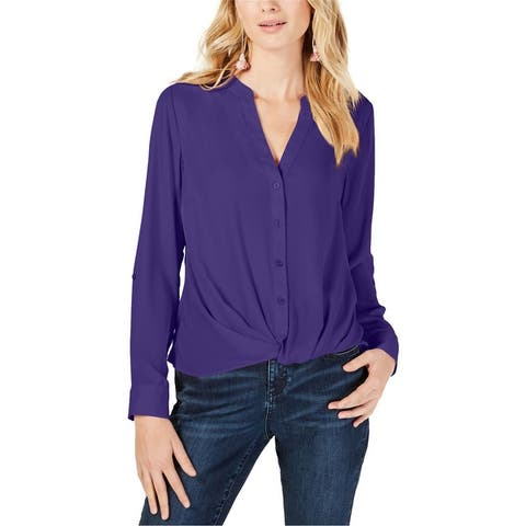 I-N-C Womens Twist-Front Button Up Shirt