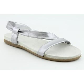 Aerosoles Rediscover Women W Open-Toe Leather Silver Slingback Sandal