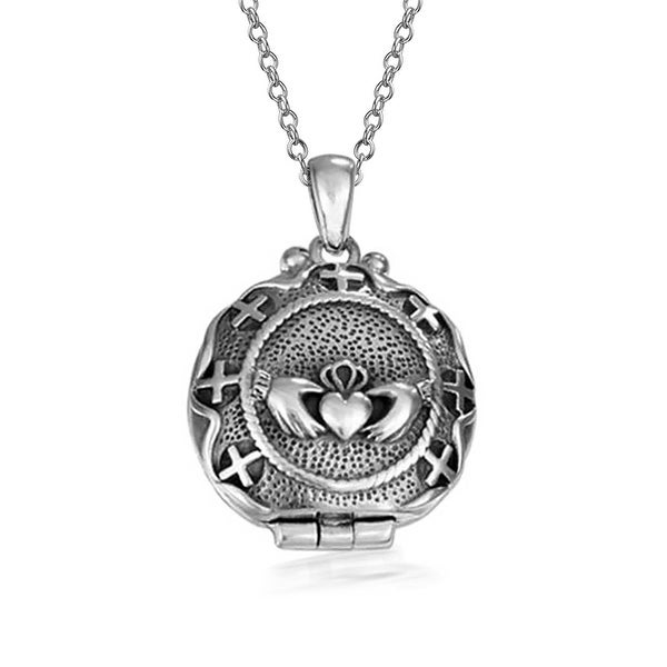 Celtic Claddagh Irish Keepsake Round Locket Pendant Oxidized 925 Sterling  Silver Necklace 18 In Chain 1 25 Dia