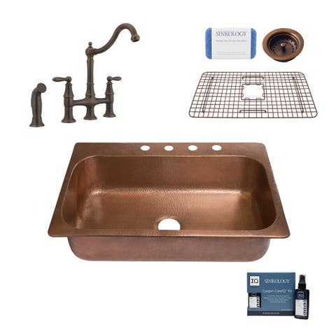 """Angelico 33"""" Drop-in Copper Kitchen Sink with Bridge Faucet and Strainer Drain"""