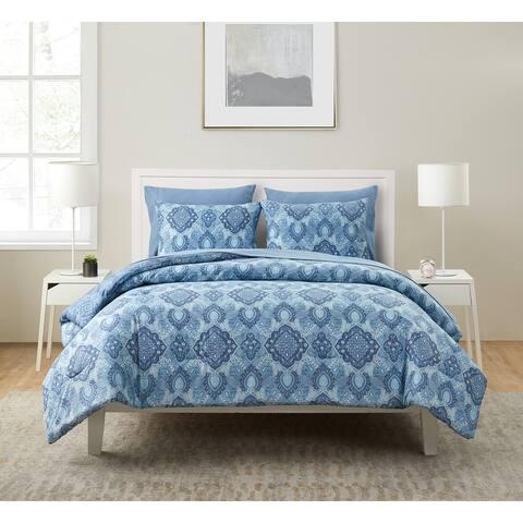 Konya Blue Medallion Bed-in-a-Bag Comforter Set