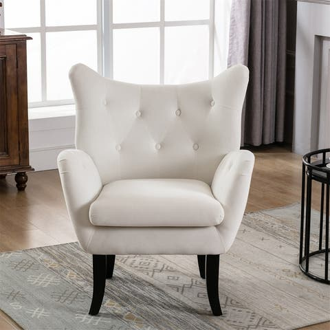 Merax Velvet Tufted Wingback Accent Chair