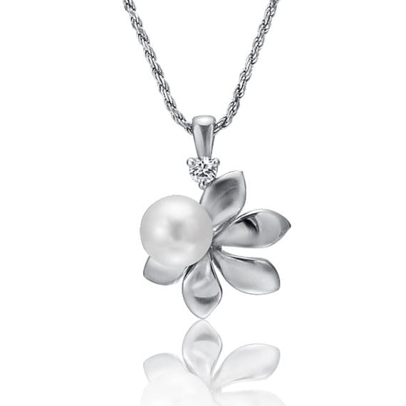 "Flower Crystal Pearl Necklace Sterling Silver Pendant 18"" Chain"
