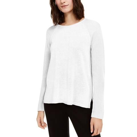 Eileen Fisher Womens Pullover Sweater Linen Blend Raglan Sleeve - White