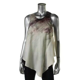 Rachel Roy Womens Asymmetric Printed Tank Top