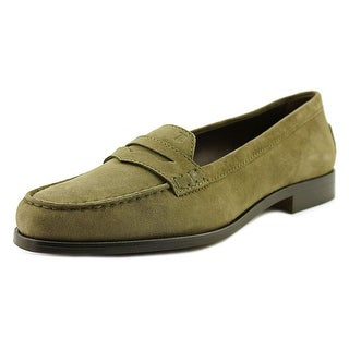Tod's N. Citta' Mocassino Women Moc Toe Suede Green Loafer