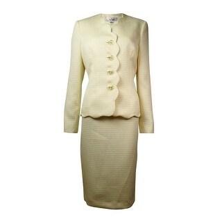 Le Suit Women's City Blooms Jacquard Scallop Skirt Suit - lemon ice