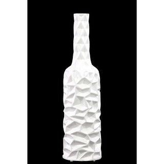 Ceramic Bottle Vase With Wrinkled Sides, Large, White