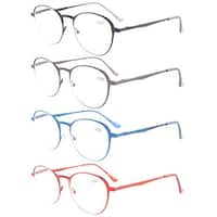 Eyekepper 4-Pack Quality Spring Hings Large Round Reading Glasses +1.0
