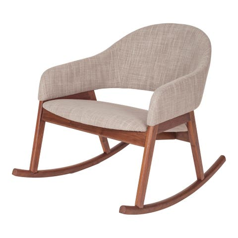 Aurelle Home Modern Solid Walnut Upholstered Rocking Chair