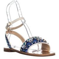 Vince Camuto Akitta Ankle Strap Flat Sandals, Blue Multi