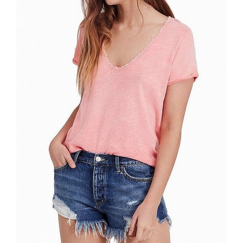 Free People Pink Women's Size Small S Scoop Neck Lace Trim Knit Top