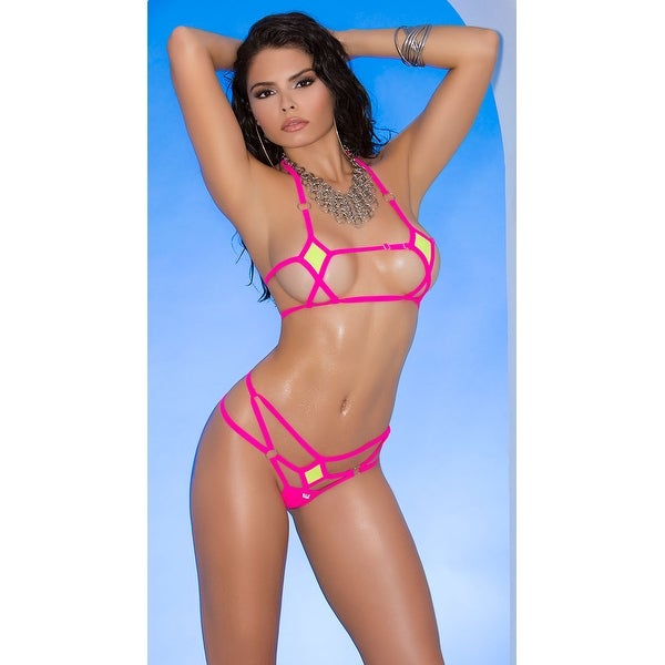 e14eab018 Shop Pink Caged Micro Bikini - Chartreuse - One Size Fits Most ...