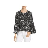 Vince Camuto Womens Blouse Animal Print Bell Sleeve
