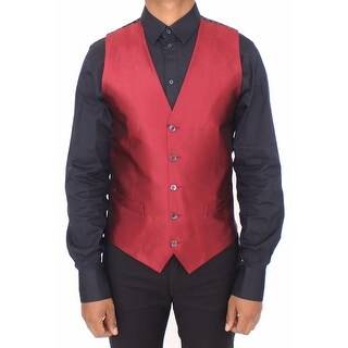 Dolce & Gabbana Red Silk Dress Vest Blazer Jacket - it48-m