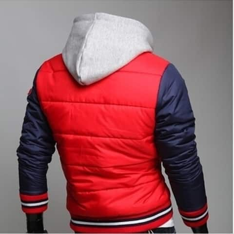 Personality Chief Sign Men's Hooded Baseball Clothes Cotton Padded Clothes Men's Fashion Coat Blue&Red High Quality