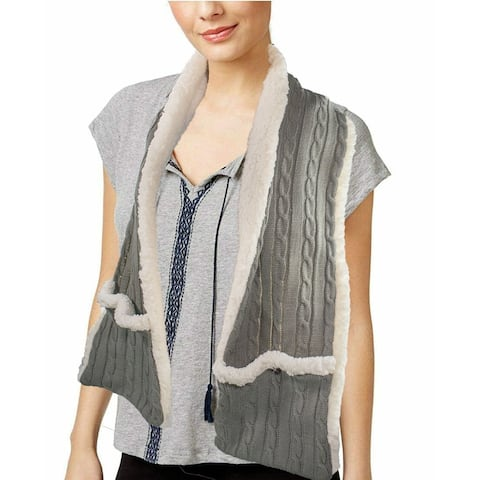 Cozy Sherpa Pocket Scarf Wrap Shawl Blanket Reversible Cable Knit w Inner Sherpa - Large