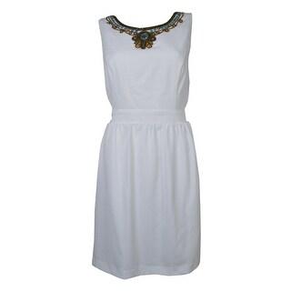 Ellen Tracy Women's Beaded Woven V-Back A-Line Dress
