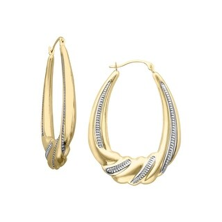 Scalloped Hoop Earrings in 10K Gold-Bonded Sterling Silver - Two-tone