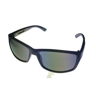 Perry Ellis Mens Sunglass PE42 2 Black Plastic Modfied Rectangle, Smoke Lens - Medium