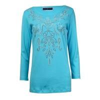 Karen Scott Women's Studded Knit Cotton Shirt