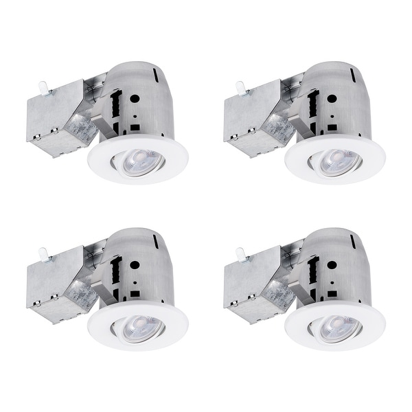 3 in. White Swivel Recessed Lighting Kit (4-Pack), LED Bulbs Included. Opens flyout.