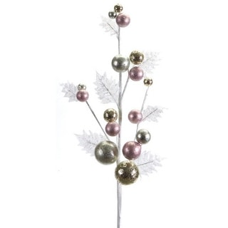 8 Artificial Christmas Holly Sprays with Pink, Gold and White Ornaments 27""