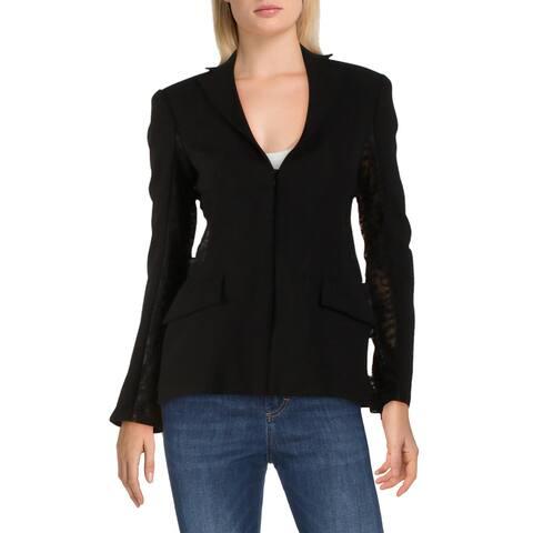 Alexis Womens Blazer Knit Lace Inset - Black