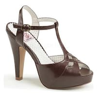 Pin Up Couture Women's Bettie 23 T Strap Sandal Dark Brown Faux Leather