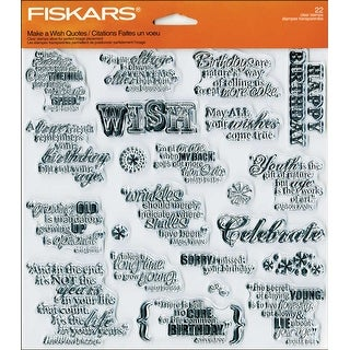 "Fiskars Quote Clear Stamps 8""X8"" -Make A Wish"
