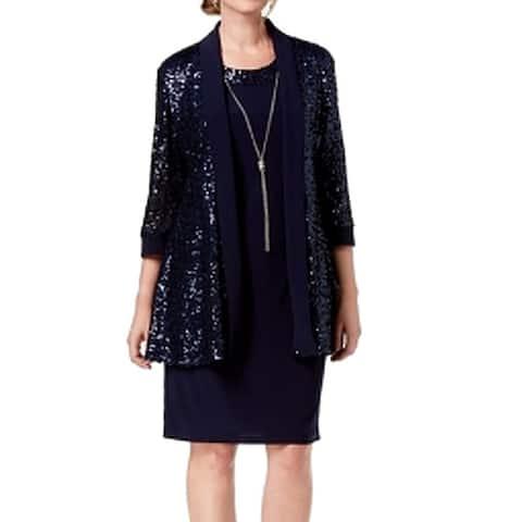 R&M Richards Women's Dress Jacket Navy Blue Size 6 Shift Sequined