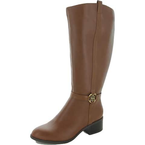 Tommy Hilfiger Womens Diwan Knee-High Boots Wide Calf Faux Leather - Medium Natural - 8.5 Medium (B,M)