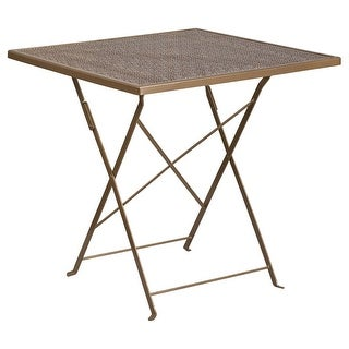 Offex 28'' Square Gold Indoor-Outdoor Steel Folding Patio Table