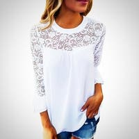Women Top Long Sleeve Elegant Lace Blouse