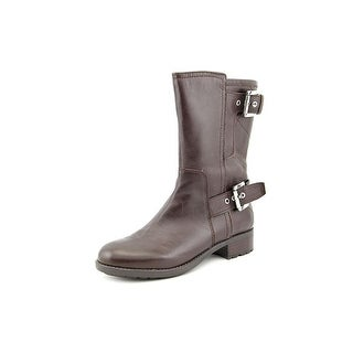 Marc Fisher Janna Round Toe Leather Mid Calf Boot