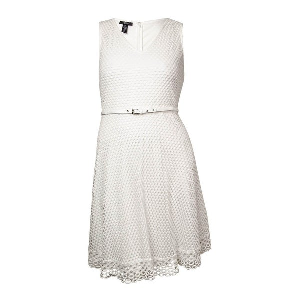 e61b311419c03 Shop Alfani Women s Belted V-Neck Eyelet Lace Dress - Bright White - On  Sale - Free Shipping On Orders Over  45 - Overstock.com - 14727958
