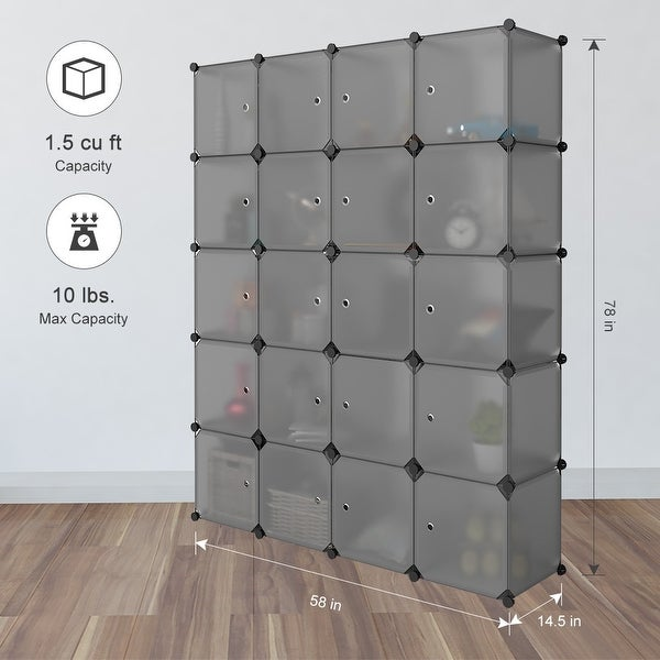 LANGRIA 20 Cube Organizer Stackable Plastic Cube Storage Shelves  (Transparent Gray)