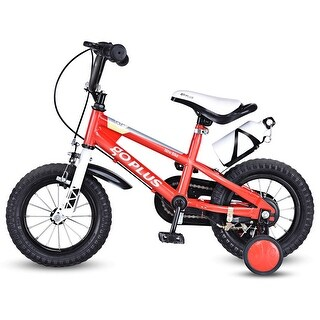 Goplus 12'' Freestyle Kids Bike Bicycle Children Boys & Girls w Training Wheels Red