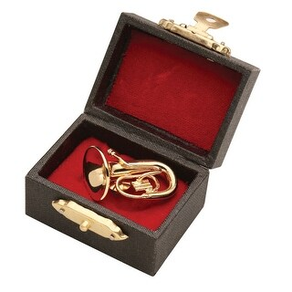 Women's Miniature Musical Instrument Lapel Pins - Velvet Lined Case - Tuba