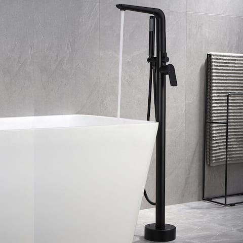 Freestanding Floor Mounted Bathtub Faucet with Hand Shower Swivel Spout