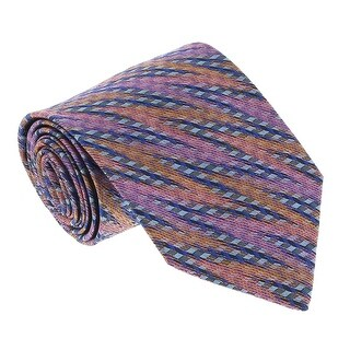 Missoni U3598 Pink/Blue/Orange Diagonal Textured 100% Silk Tie - 60-3