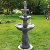 Sunnydaze Juniper 3 Tier Garden Water Fountain 57 Inch Tall