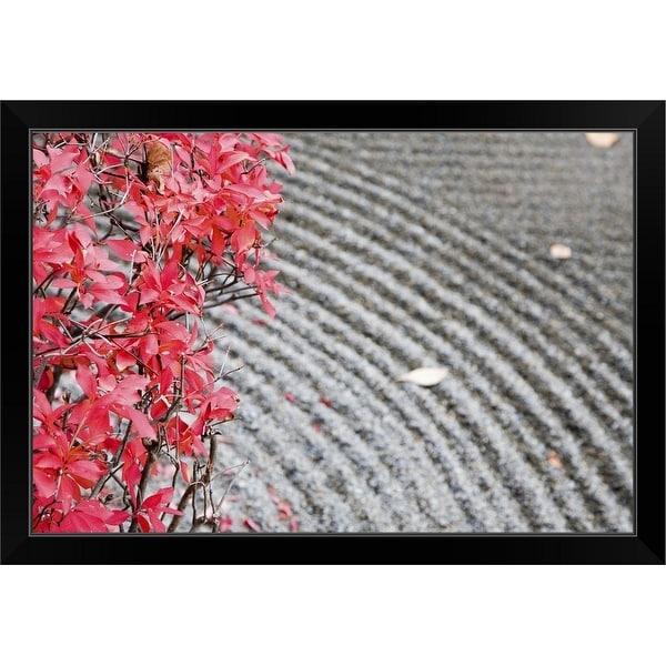 """Zen rock garden with red maple leaves, Zenno-ji Temple"" Black Framed Print"