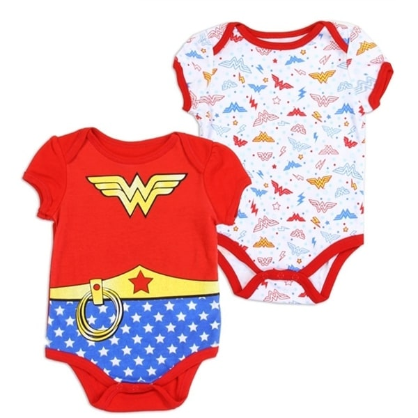 Baby Girls Red Superheroine Logo Print Short Sleeve 2 Pc Bodysuit Set