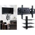 2xhome - NEW TV Wall Mount Bracket (Single Arm) & Triple Shelf Package - Secure Cantilever LED LCD Plasma Smart 3D WiFi - Thumbnail 0